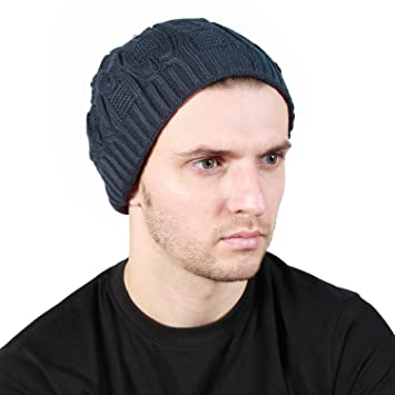 a51fcb15647 Noise Grey Wave-Cross Knitted Slouchy Beanie Cap  Amazon.in  Sports ...