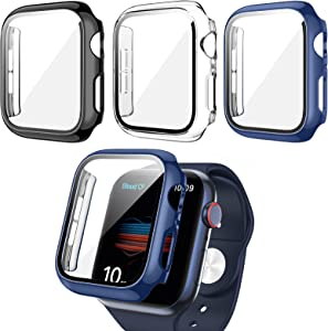 3 Pack Apple Watch Case with Tempered Glass Screen Protector for Apple Watch 40mm Series 6/5/4/SE,RTong Full Hard PC Ultra-Thin Scratch Resistant Thin Bumper HD Protective Cover for iWatch 40mm