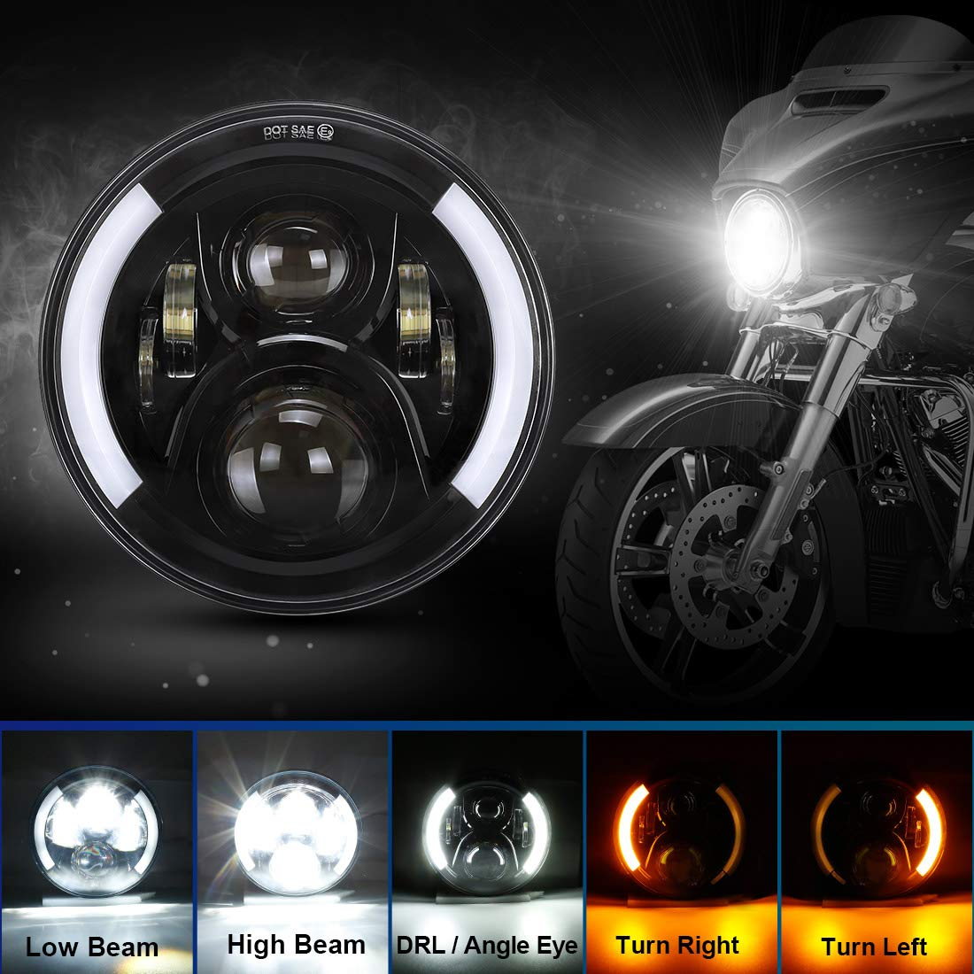 SUPAREE 7 inches LED Motorcycle Headlight for Harley Davidson Touring Road King Ultra Classic Electra Street Glide Tri Cvo Heritage Softail Slim Deluxe Fatboy Chrome