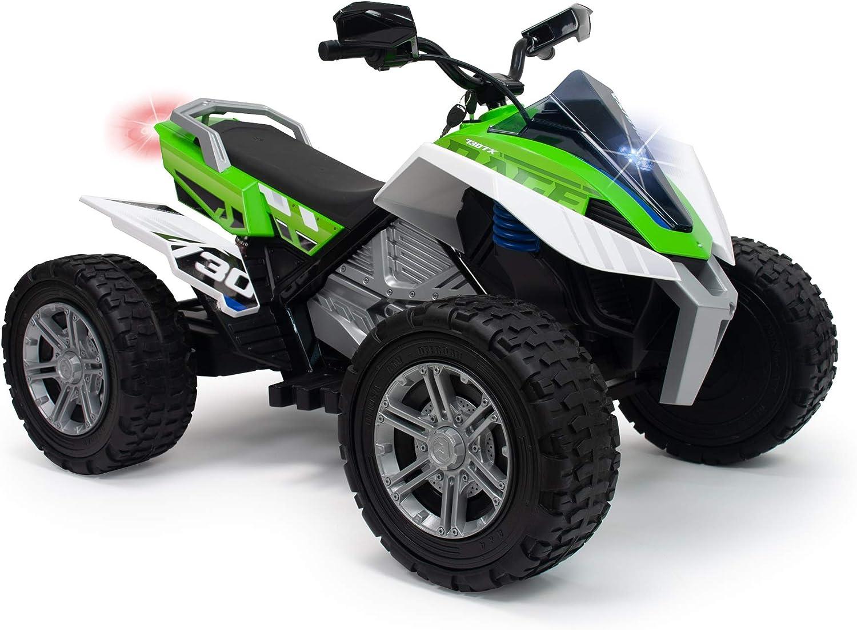 INJUSA – Quad Rage 24V Recomendado para Niños +6 Años con 2 Velocidades, Suspensiones y Luces Delanteras y Traseras, Color Verde