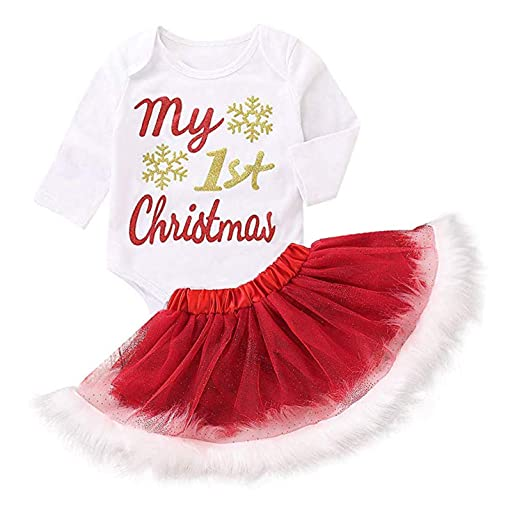 e6660a5f8f6c3 MAMOWEAR My 1st Christmas Outfit Baby Girls Xmas Plaid Bowknot Skirt  Set,Headband (Red