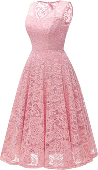 Women's Cocktail V-Neck Dress Floral Lace