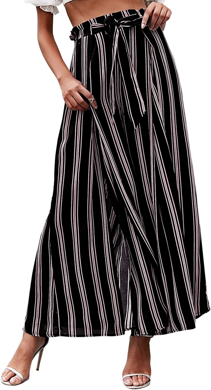 High Waist Pants Striped Wide  1980s Pants  Women/'s Pants vintage  Wide Women/'s Pants  Summer Pants