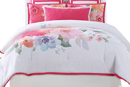 864a0c56768dd Image Unavailable. Image not available for. Color  Christian Siriano Bold Floral  Full Queen 3 Piece Comforter Set
