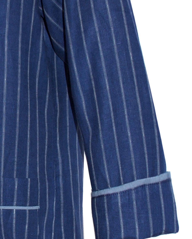 Armani International Alexander Linen Pajamas Large Blue-Pinstriped White by Armani International (Image #3)