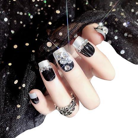 AiSi 24 piezas de uñas postizas de moda DIY Nail Art Tips Cover para niñas damas