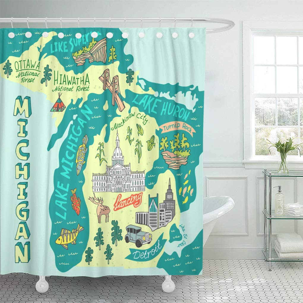 Semtomn Shower Curtain Waterproof Polyester Fabric 66 X 72 Inches Capitol Map Of The State Michigan Usa Travel And Attractions Set With Hooks Decorative Bathroom Curtains Amazon In Home Kitchen