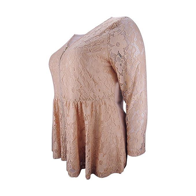 Acereima Women Vintage Floral Lace Crochet Front Zipper Long Sleeve Jacket at Amazon Womens Coats Shop