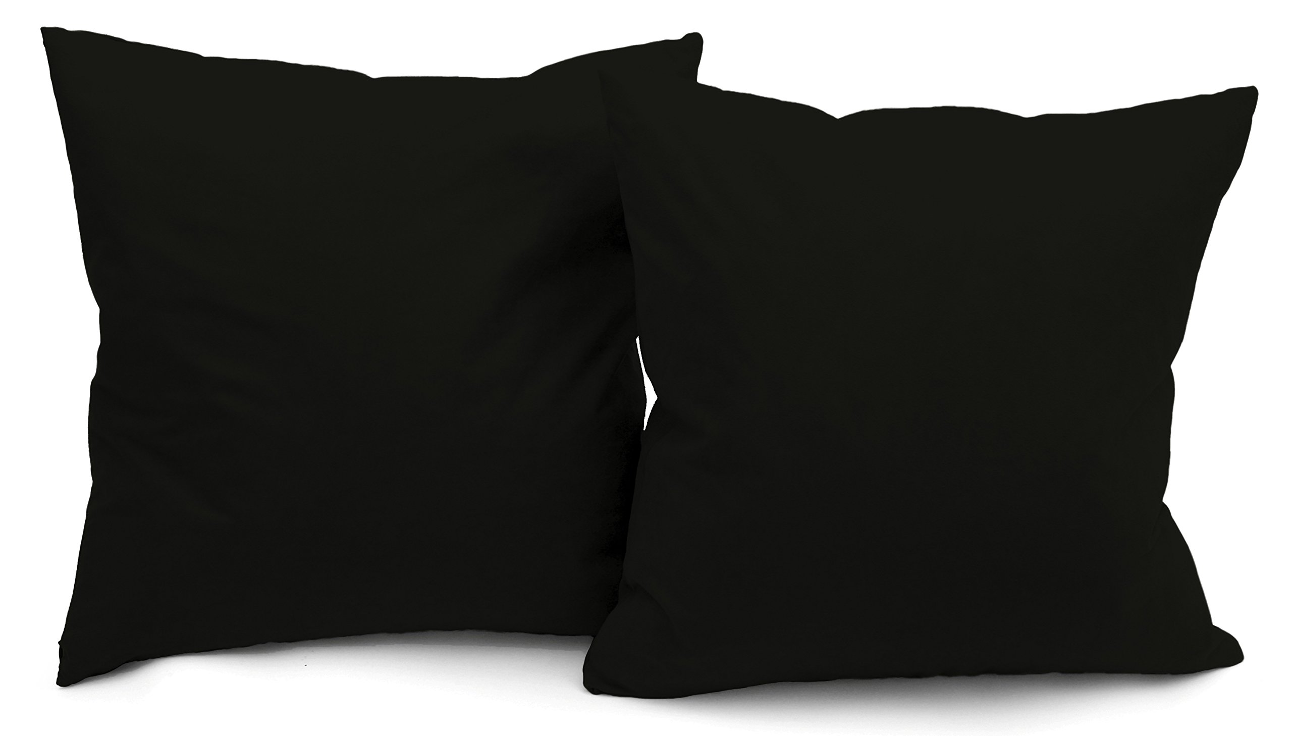 Deluxe Comfort Premium Microsuede - Down Feather Filled - Throw Pillow, Black - Pack of 2