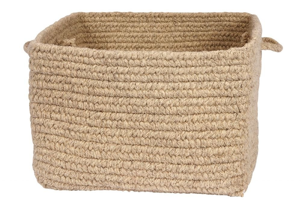 Colonial Mills Cube Storage Square basket 4''x14''x10'' in Neutral Color From Chunky Natural Wool Square Baskets Collection