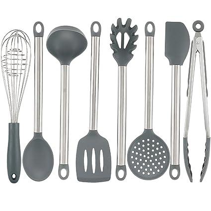 Vasdoo Silicone Kitchen Utensil Set,8 Pieces Cooking Utensil Set, Nonstick Kitchen  Tools And