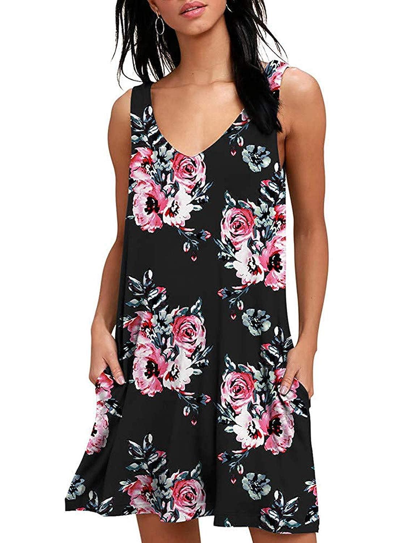 Sommerkleider Damen Casual Armellos T Shirt Kleid Kurzen Blumen Bedrucktes Strandkleider Mit Taschen Bekleidung Kleider Tarsandanismanlik Com