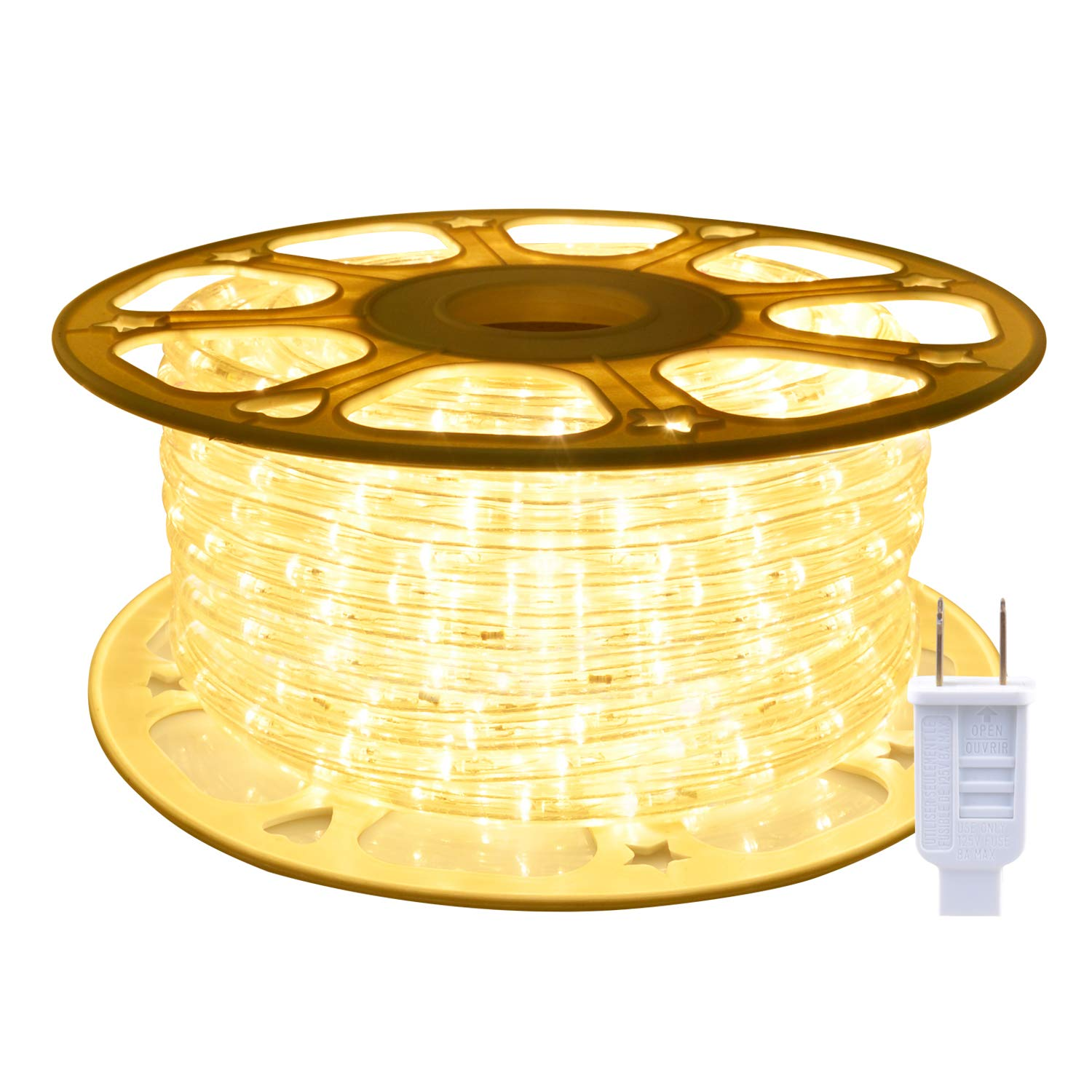 ollrieu 98.4ft/30m LED Rope Lights,Waterproof, Indoor/Outdoor Use,720 Units Warm White 3000K LEDs,110V,UL Listed Power Plug-in,Connectable,Flexible,Decorative Lighting