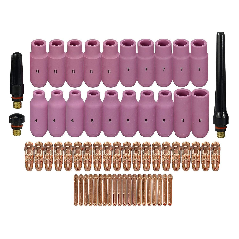 RIVERWELD TIG Collet Body Alumina Nozzle TIG Back Cap Assorted Size Fit QQ300 PTA DB SR WP 17 18 26 TIG Welding Torch Accessories 63pcs RIVERWELDstore WP-17 WP-18 WP-26