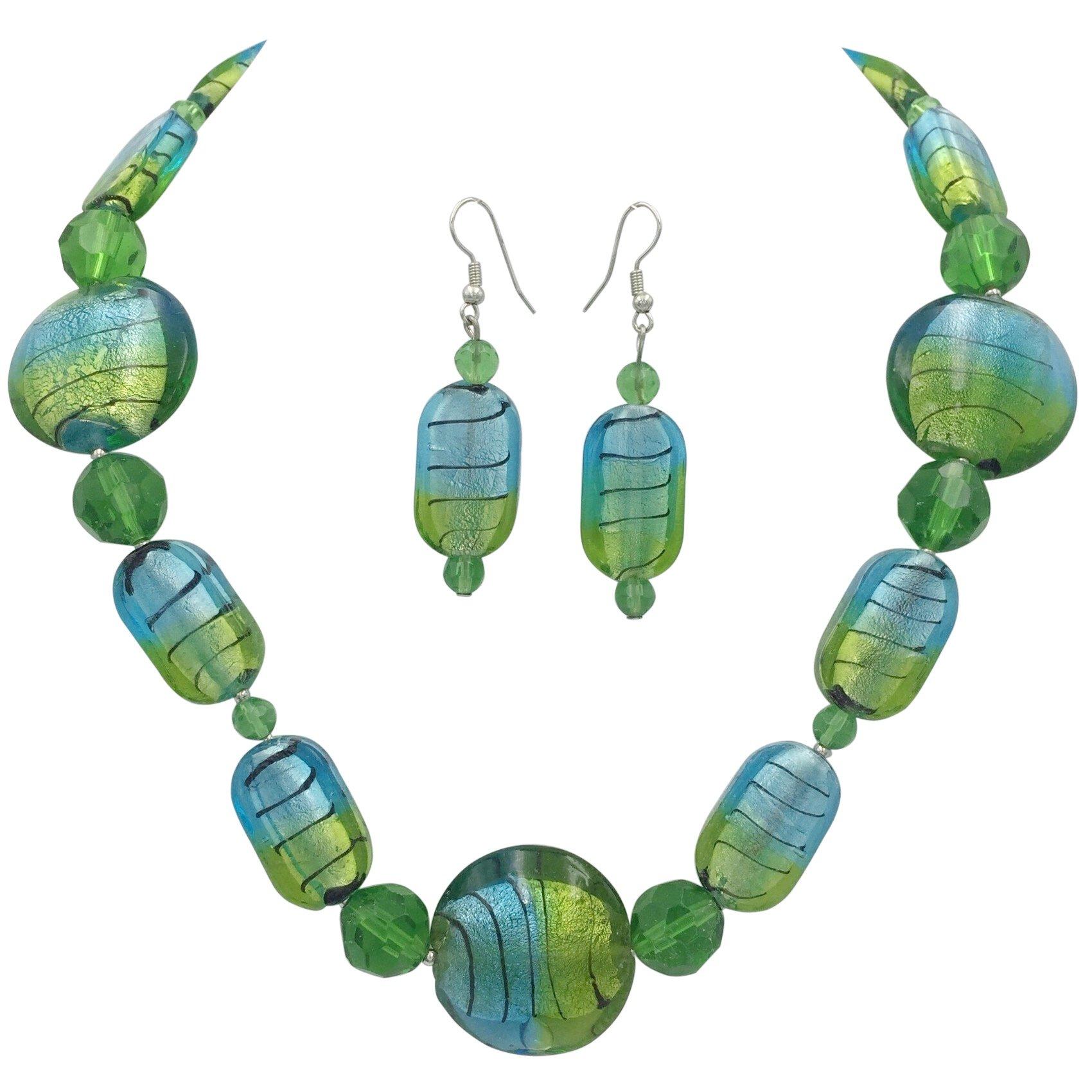 Gypsy Jewels Single Row Simple Beaded Statement Multi Color Necklace & Dangle Earrings Set (Light Blue & Green Swirl Glass)