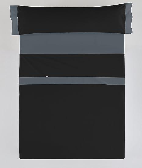 ESTELA - Juego de sábanas LISOS con APLIQUE color Negro-Gris (3 ...