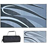 Ming's Mark GB1 Stylish Camping Reversible Graphic Patio Mat - 8' x 16', Black/Silver