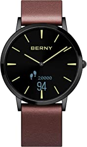 BERNY Hybrid Smart Watch Series - Smartwatch Fitness Tracker Original Classic Style Smartwatch Compatible with iPhone and Android (Black-4)