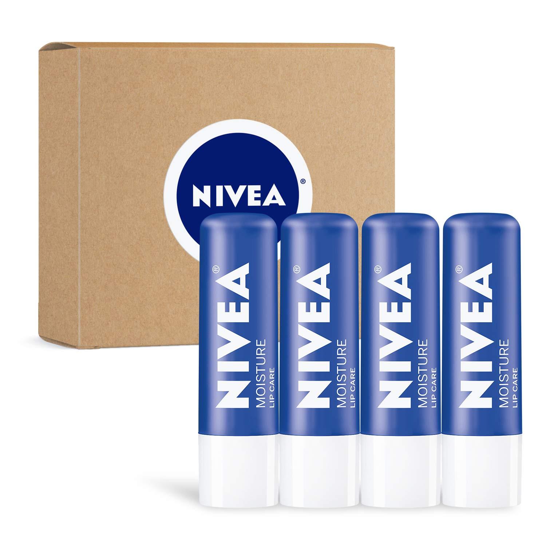 Nivea Moisture Lip Care 4 Pack, 0.17 Ounce by Nivea