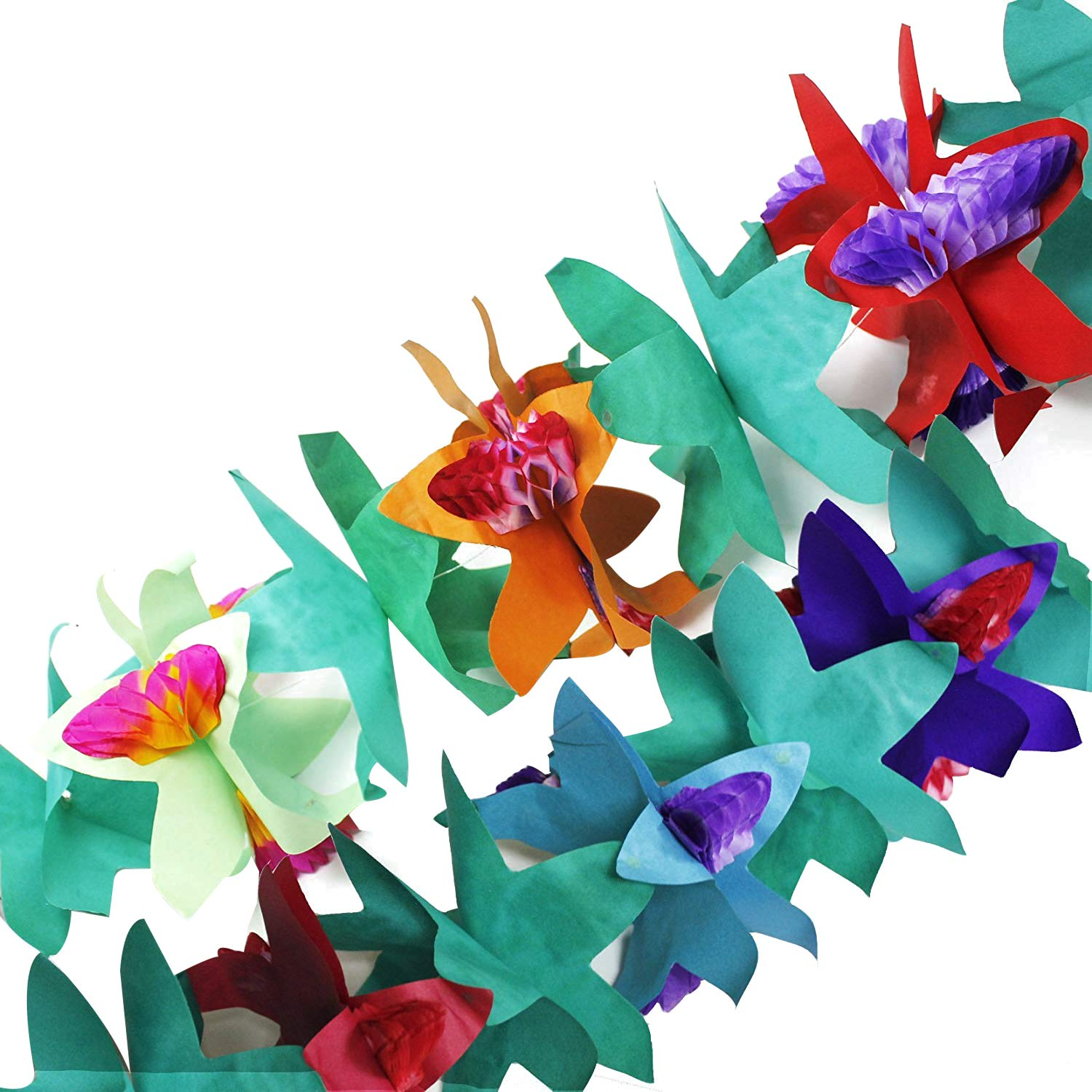 Multicolor Fun Central BC559 1 Piece 7 Inch Tissue Flower Garland Luau Party Decorations Paper Garland Party Decorations Garland Party Garland Holiday Garland Fake Flowers Flower Decor