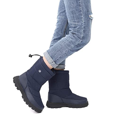 f7504c63616a9 gracosy Winter Warm Snow Boots Womens Mens Flat Fur Lined Ankle Boots  Waterproof Thickening Winter Shoes Slip On Lightweight Mid Calf Rain Boots  ...