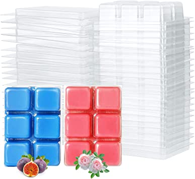 TSLBW Wax Melt Molds 50 Pcs 6 Cavity Clear Plastic Clamshell Mould Cube Tray for Candle Making and Soap Wax Melts Boxes Heart shape