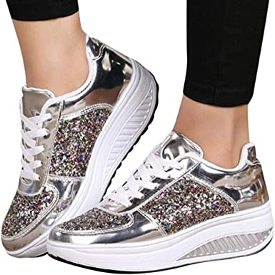 Baigoods Fashion Girls Womens Ladies Colorful Sequins Mirror Wedges Sneakers Sport Casual Thick Bottom Shoes