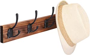"""HOUSE DAY Wall Mounted Coat Hooks 4 Tri Hooks 17"""", Rustic Wooden Wall Hooks for Hanging Coat Hat, Keys Holder Perfect Home Decor for Entryway, Kitchen, Bathroom, Bedroom"""