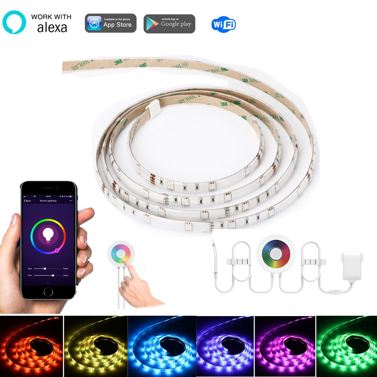 2m / 6.6ft RGB 120-LED WiFi Streifen Licht, Konesky Arbeit mit Alexa / Google Smart Flexible Seil Band Licht Touch / APP / Voice / Music Control Timer-Funktion fü r Android IOS