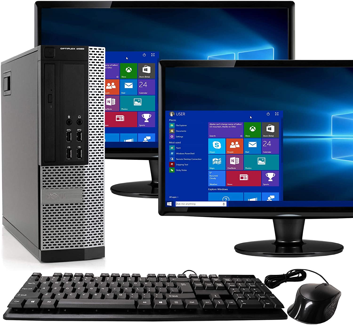 Dell Optiplex 9020 SFF Computer Desktop PC, Intel Core i5 Processor, 16 GB Ram, 2 TB Hard Drive, WiFi, Bluetooth 4.0, DVD-RW, Dual 19 inch LCD Monitors Windows 10 Pro (Renewed)