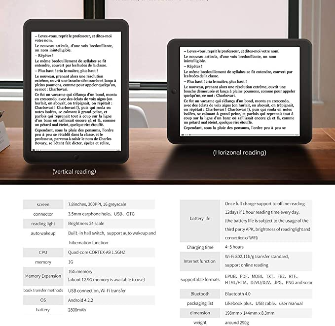 Boyue Likebook Plus 7.8 E-Reader, Pantalla (300 ppi) con luz ...