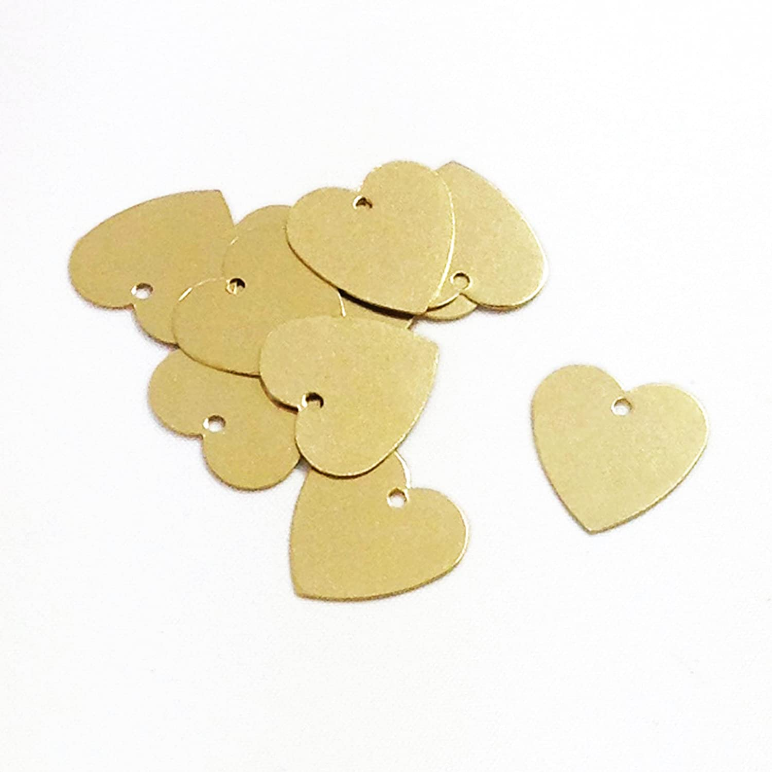 100 Brass Heart Metal Stamping Blanks mit Hole 13Mm X 13Mm Heart Metal Blanks