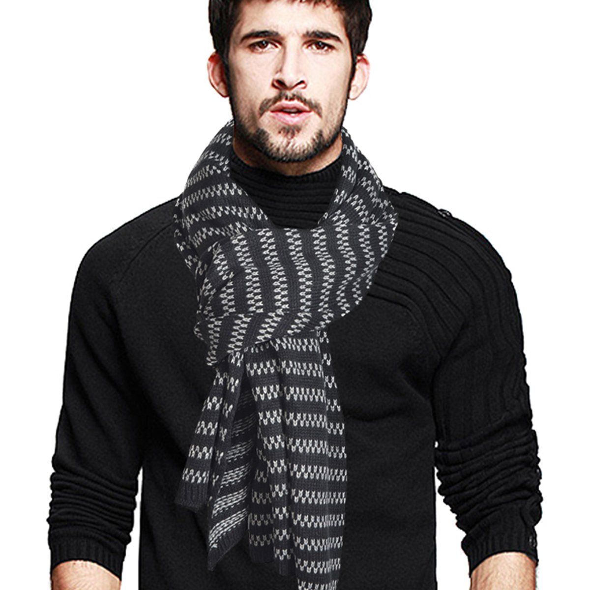 Men's Stripe Long Scarf Soft Warm Thick Knit Winter Scarves (Black) VECRY CF-E5071-Black