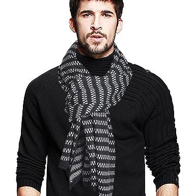 958ea8f216f VECRY Homme Longue Écharpe Doux Chaud Épais Tricoter D hiver Écharpes  (Bande-Gris