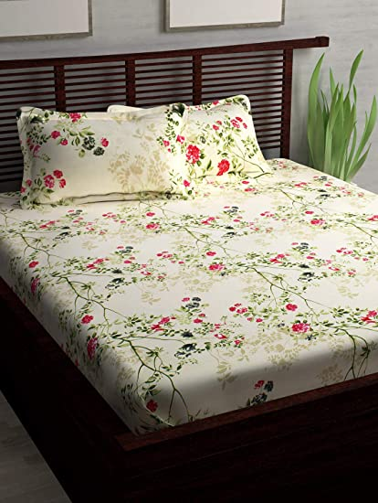 Story@Home 186 TC 100% Cotton Elegant Print 1 Double Bedsheet and 2 Pillow Covers - Floral, Cream