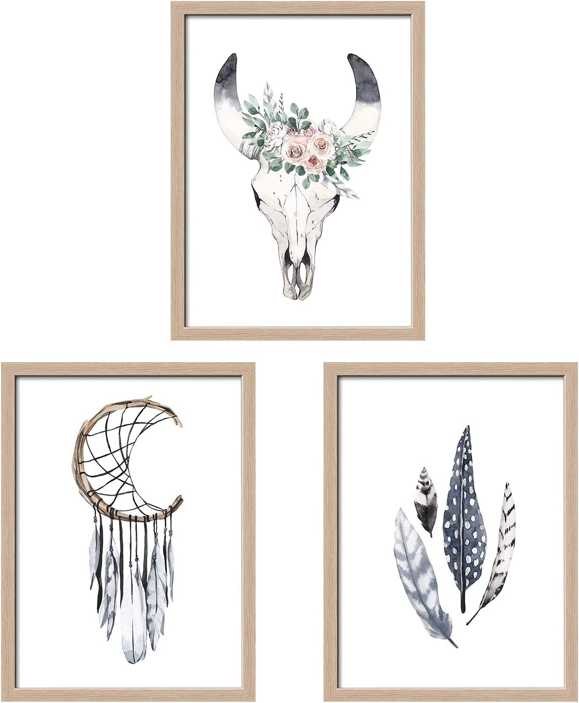 ArtbyHannah 3 Pack 12 x 16Inch Boho Framed Wall Art Decor with Bohemian Dreamcatcher Picture Frame Artwork Prints for Bedroom or Livingroom Decoration