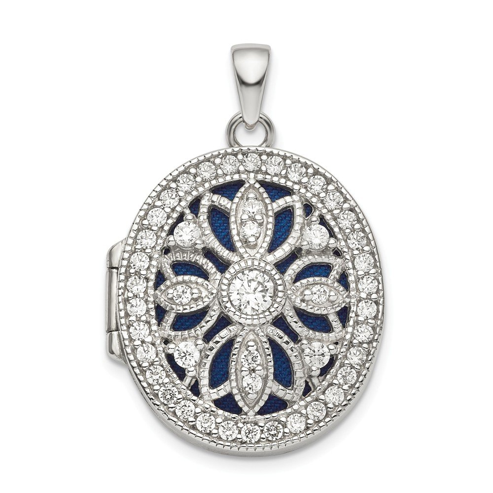 925 Sterling Silver Cubic Zirconia Cz Oval Photo Pendant Charm Locket Chain Necklace That Holds Pictures Fine Jewelry Gifts For Women For Her by ICE CARATS