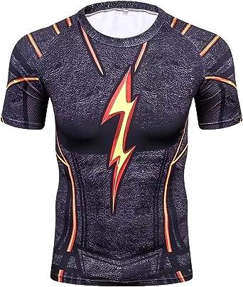 A. M. Sport Camisa Compresion Licra Hombre Fitness. Camisa técnica Deportiva. (Flash Black): Amazon.es: Ropa y accesorios