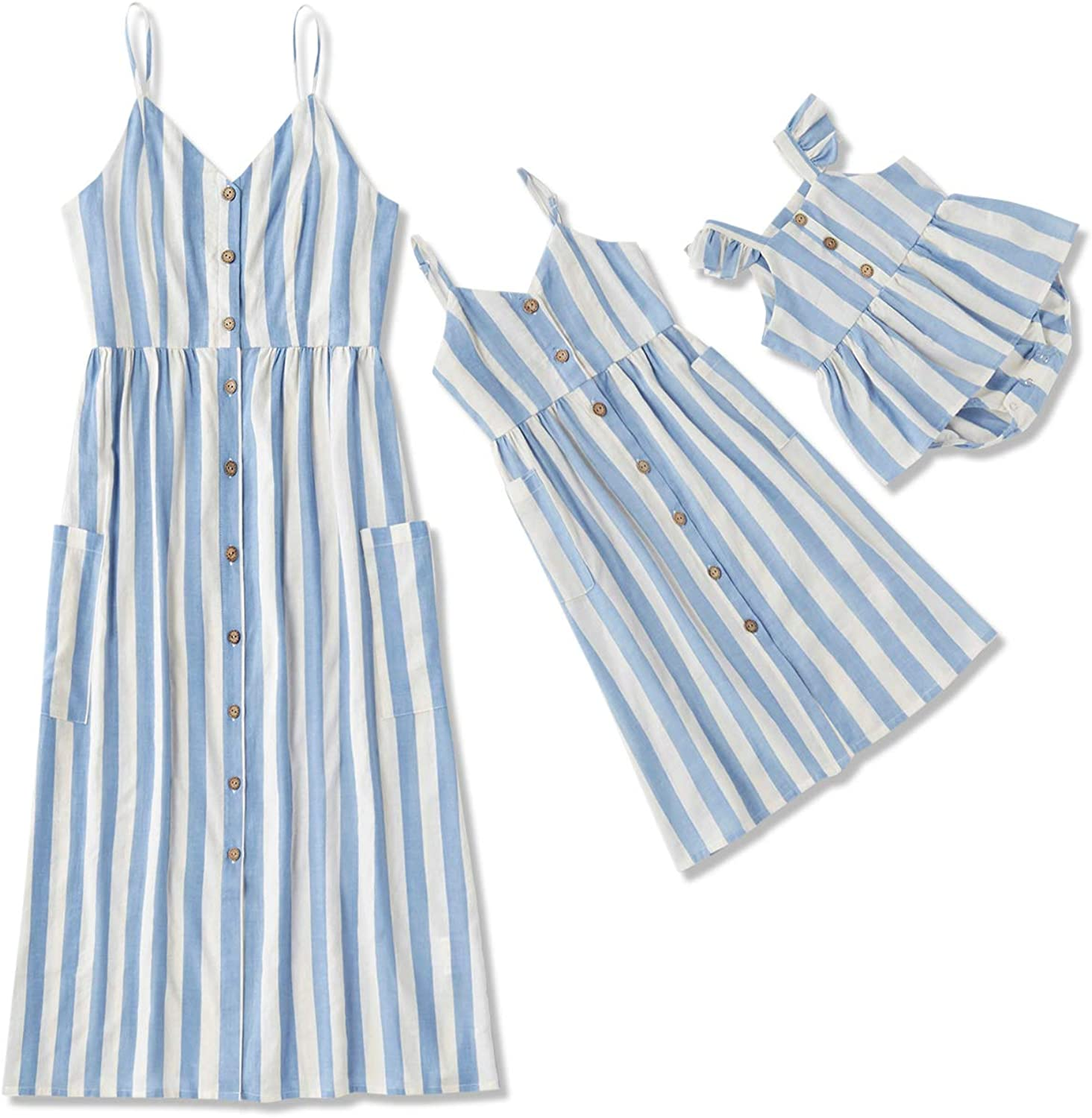 IFFEI Mommy and Me Matching Dress Spaghetti Strap Striped V Neck Button Down Dress with Pockets for Mother and Daughter