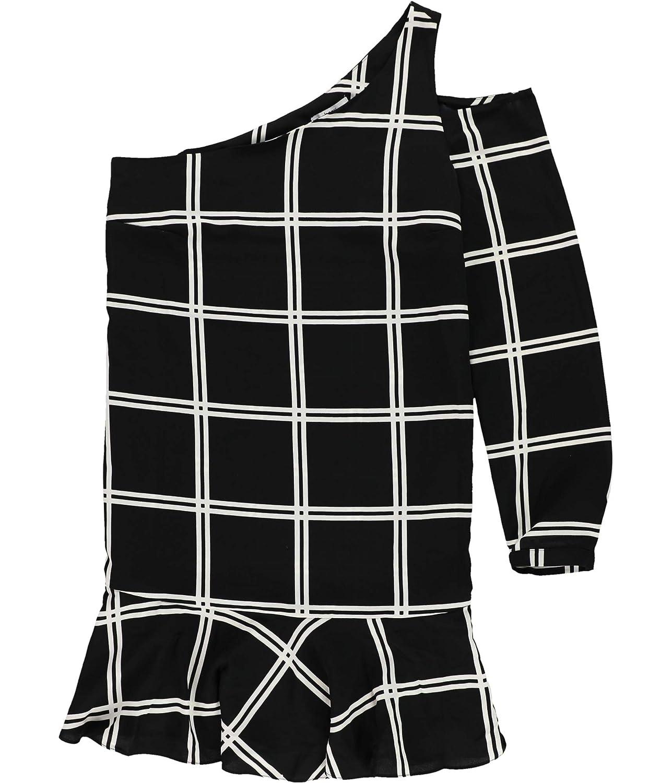 Blkcombo Bar Iii Womens Grid One Shoulder Dress