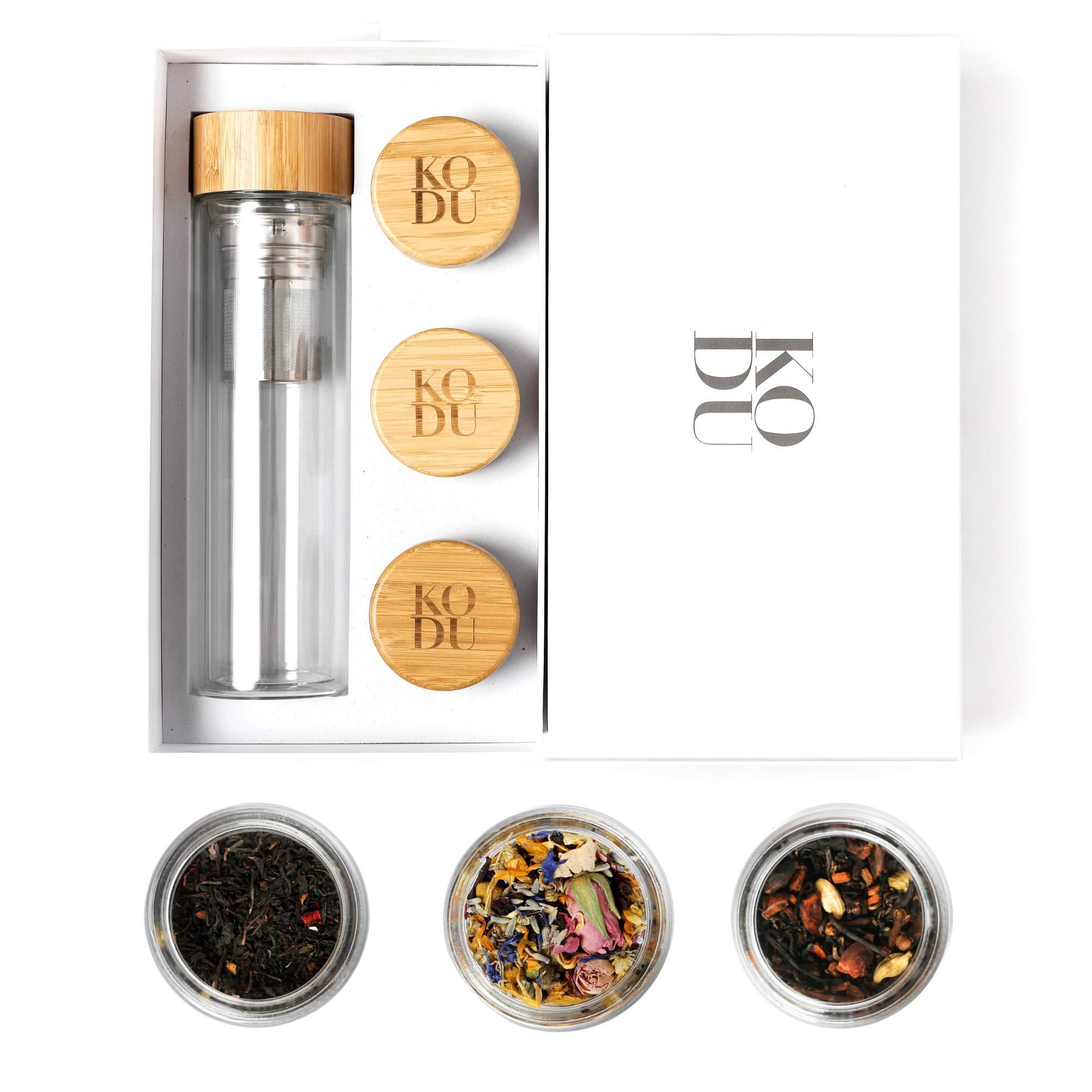 Kodu Loose Leaf Tea Infuser Bottle & Tea Sampler, YouBeauTea Gift Box for Tea Lovers