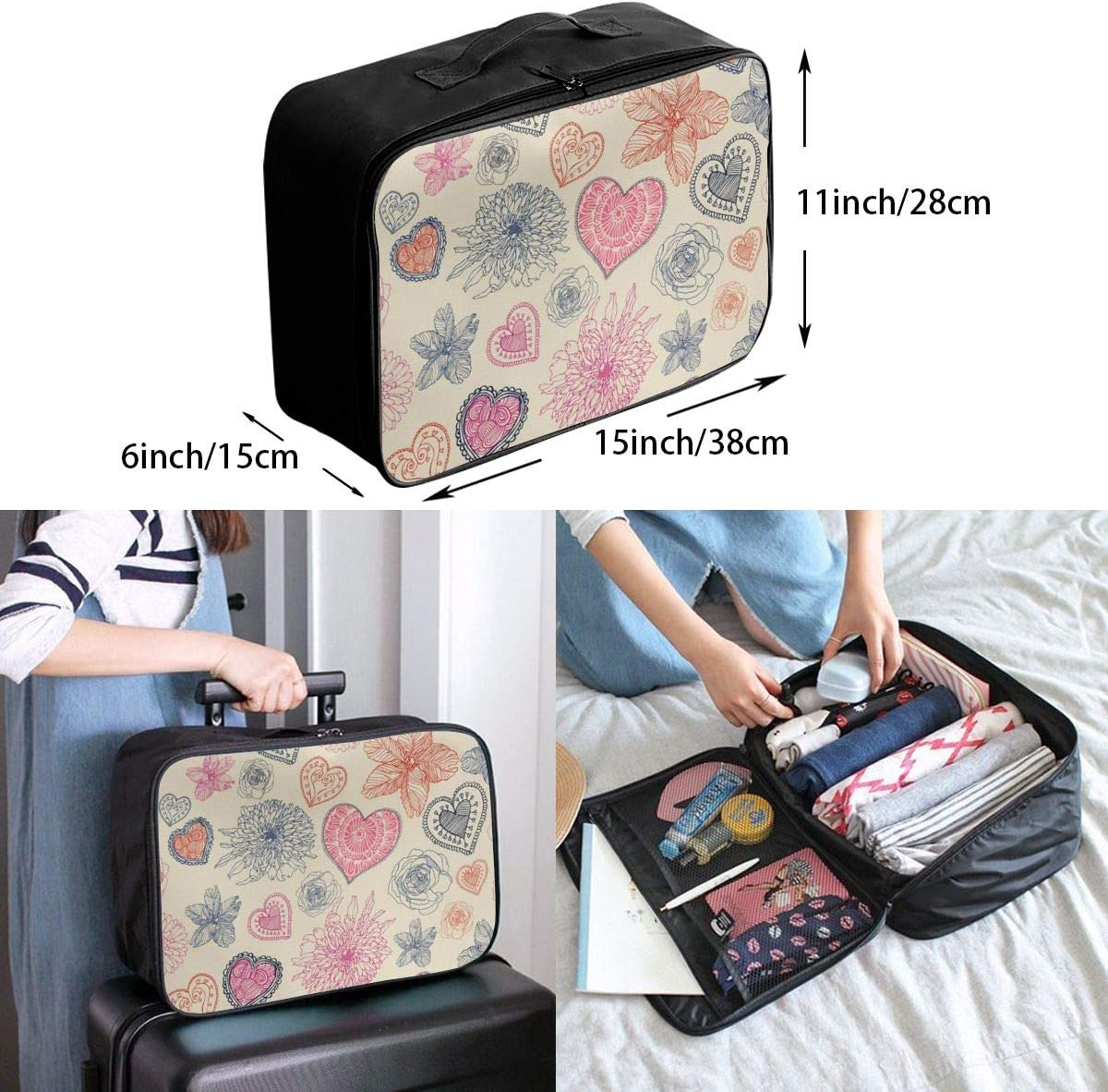 Yunshm Vintage Floral Hearts Pattern Vector Image Customized Trolley Handbag Waterproof Unisex Large Capacity For Business Travel Storage