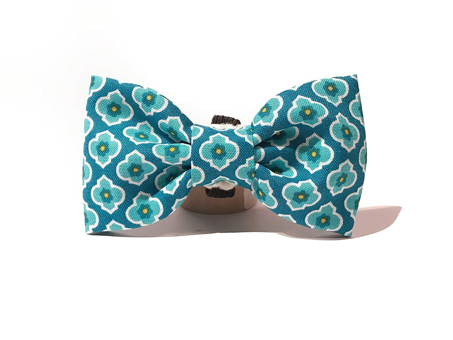 Very Vintage Design Dog Cat Collar Bow Tie Blue White Flower Hand Crafted Collection Organic Cotton Personalized Floral Adjustable Pet Bowtie