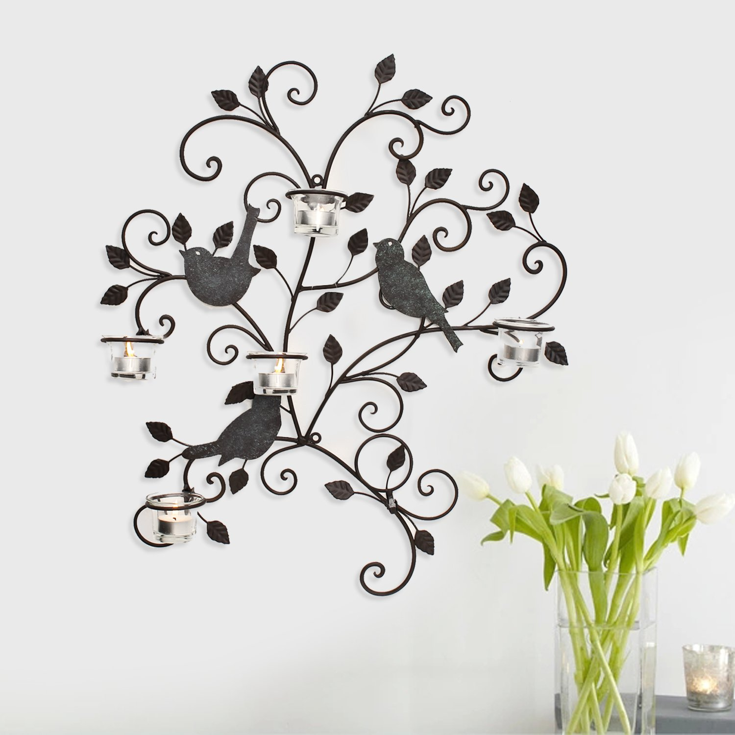 Amazon.com Adeco HD0024 Decorative Iron Wall Hanging Tea Light Candle Holder Birds u0026 Branches Black Home u0026 Kitchen  sc 1 st  Amazon.com & Amazon.com: Adeco HD0024 Decorative Iron Wall Hanging Tea Light ... azcodes.com