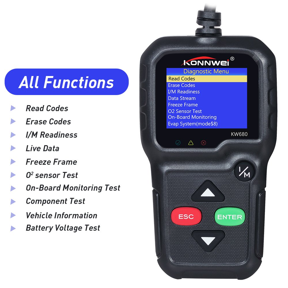 KW680 Full OBD2 Function ODB 2 Diagnostic Tool Car Engine Fault Code Reader-Scan Tool for Check Engine Light with O2 Sensor Test and On-board Monitor Test