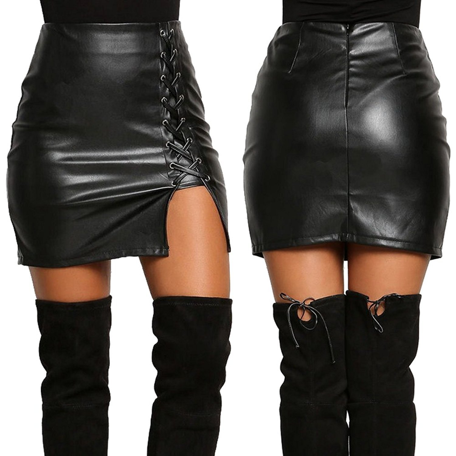 596767ce6 Lisli Women Sexy PU Leather Cut Out High Waist Stretch Bodycon Lace-Up Skirt  at Amazon Women's Clothing store: