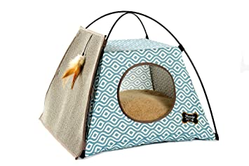 Trendy Pet Cat Tent with Attached Cat Scratcher | Removable Bolstered Microfiber Pillow - 21in x  sc 1 st  Amazon.com & Amazon.com : Trendy Pet Cat Tent with Attached Cat Scratcher ...