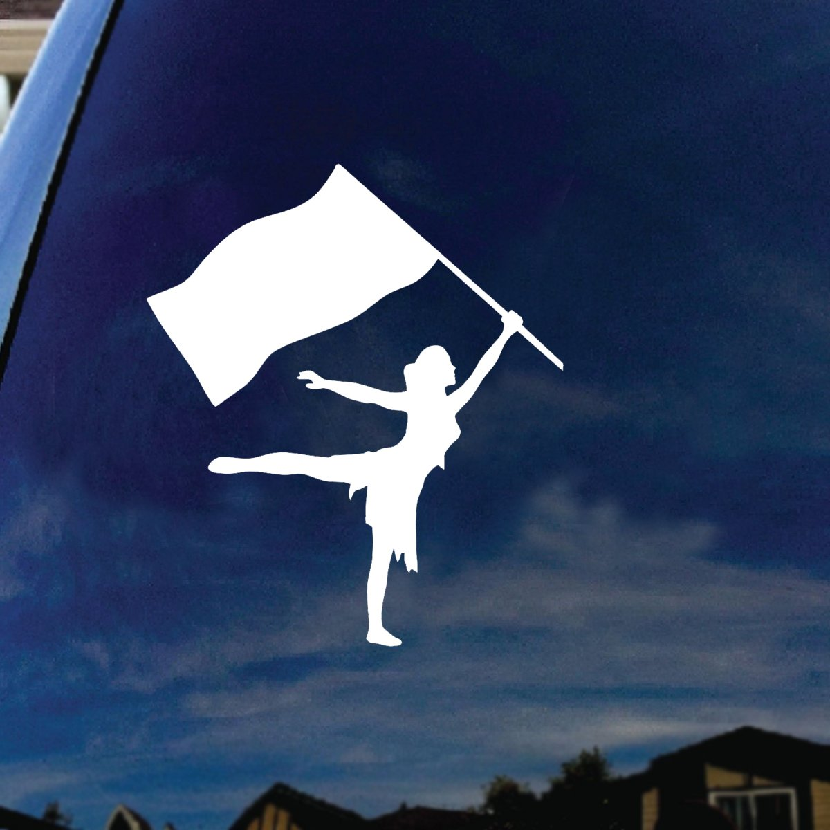 SoCoolDesign Color Guard Flag Car Window Vinyl Decal Sticker 4 Wide White