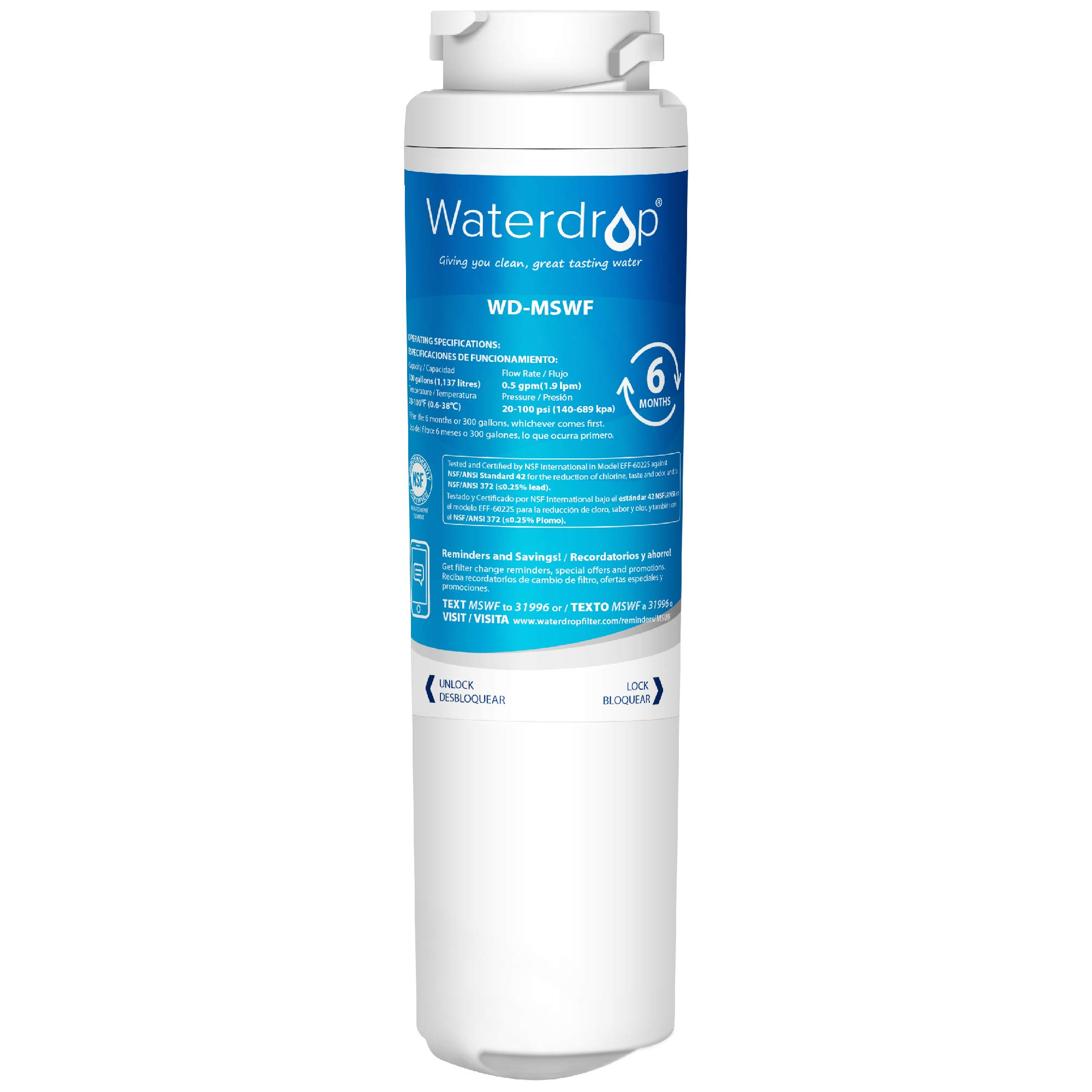 Waterdrop MSWF Replacement Refrigerator Water Filter, Compatible with GE MSWF, 101820A, 101821B, 101821-B-Standard