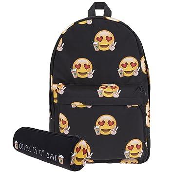 Amazon.com: koojooe Canvas Unisex Emoji Negro Escuela ...